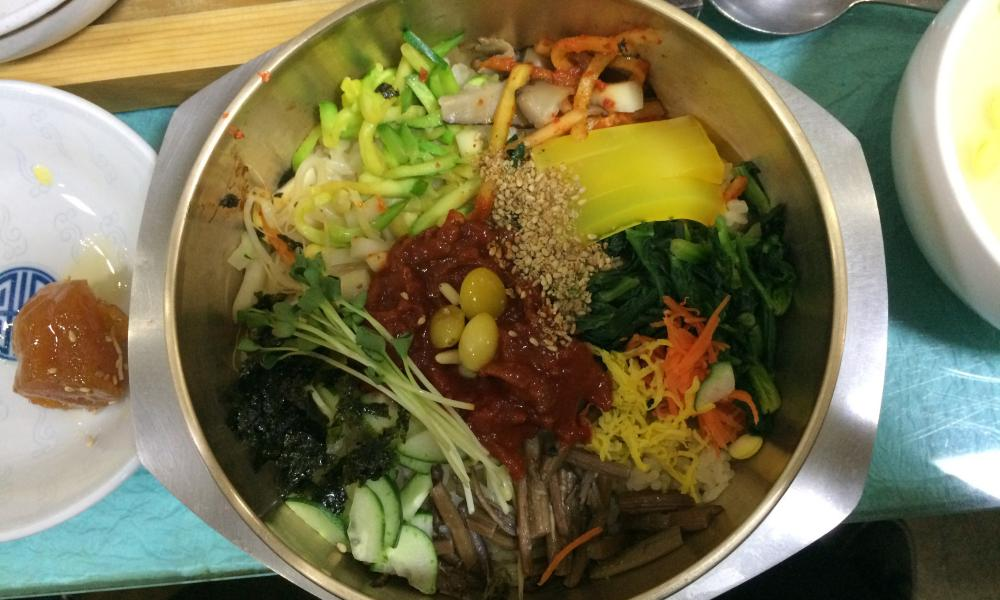 bibimbap: rice with a multitude of toppings.