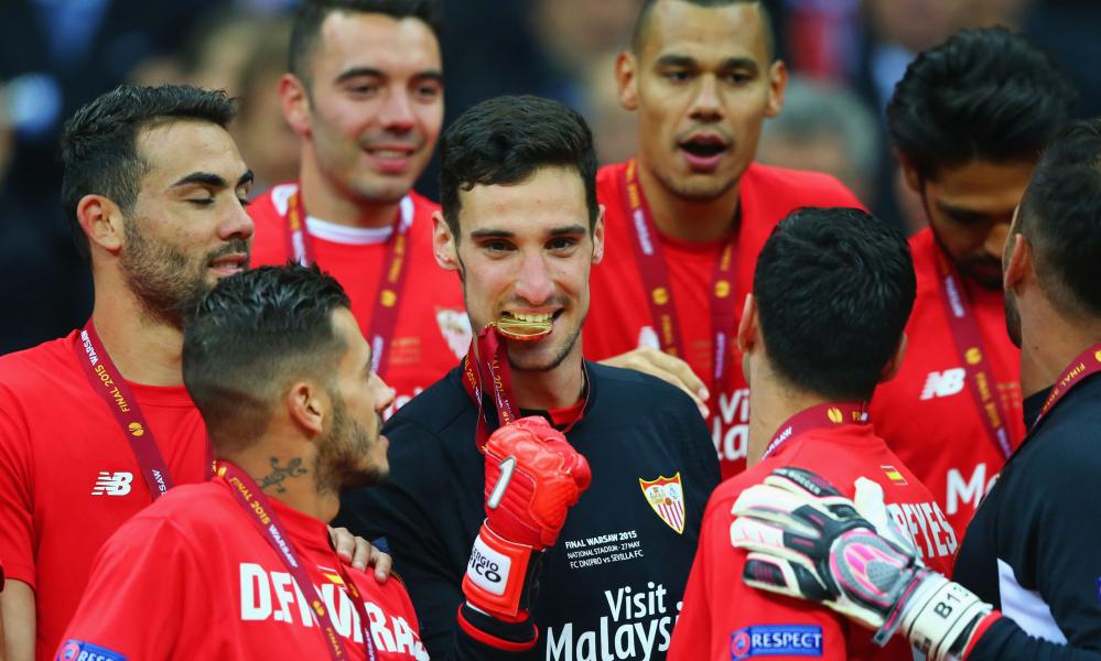 Sergio Rico celebrates Sevilla's win over Dnipro Dnipropetrovsk in the 2015 Europa League final, their fourth of five successes in the competition.