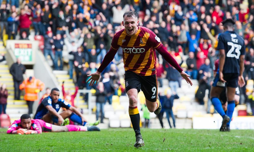 Charlie Wyke celebrates his late winner for Bradford City against Swindon.
