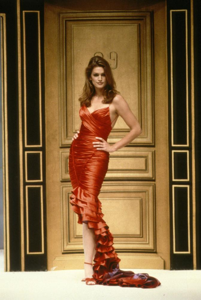 The supermodel Cindy Crawford at the Hervé Léger Spring 1996 show.