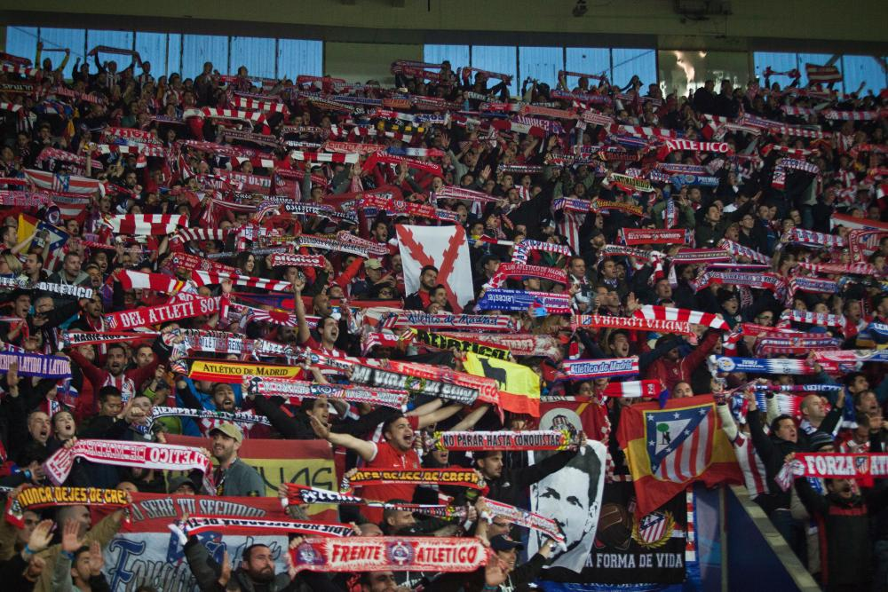 The Atletico supporters celebrate after that Saul Niguez goal.