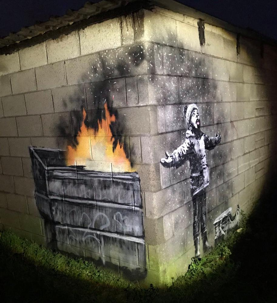 A close-up of the artwork, which also appears on Banksy's Instagram account.