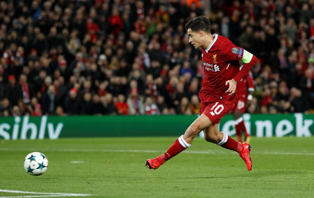 Coutinho scores the second goal.