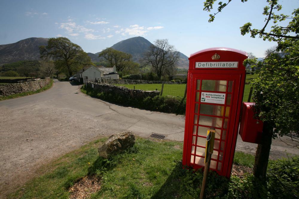 A defibrillator phone box in the Lake District, Cumbria.