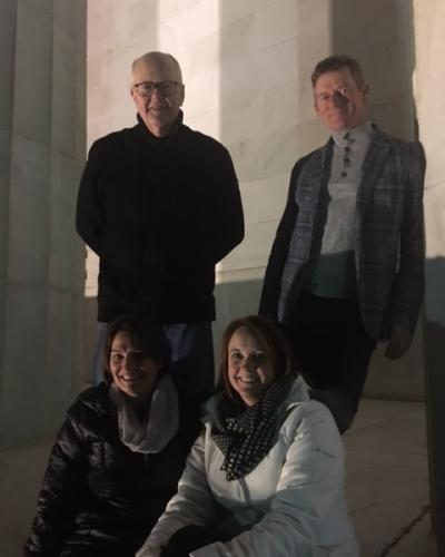 Michael Smith, Jim Simmons, Cyndi Festa and Beth Laliberte at Lincoln Memorial in Washington.