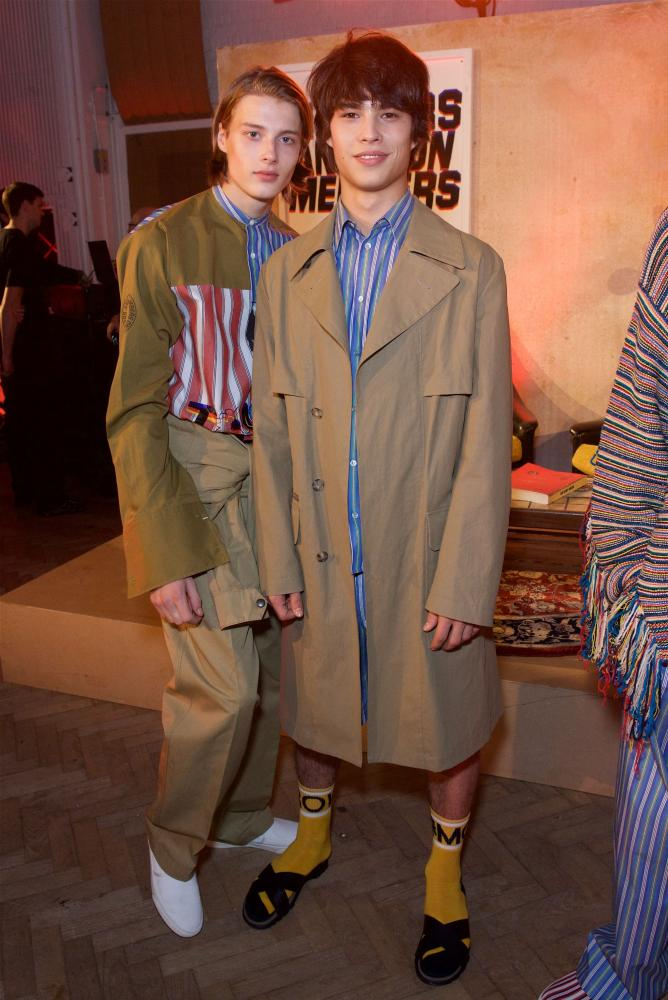 Models in McCartney's menswear collection at Thursday's launch.