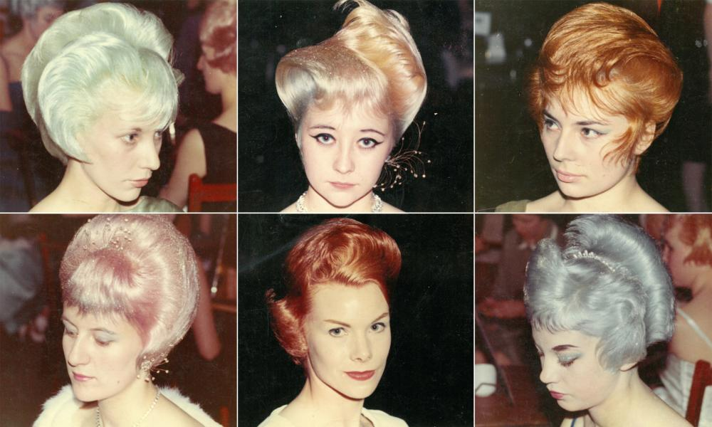 Competition entrants in 1962 from the Leslie Frances Salon, Blackpool, shows early beehive tendencies.