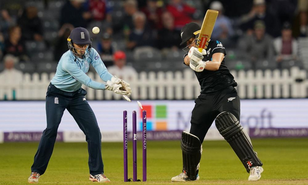 New Zealand's Jess Kerr is bowled by England's Charlie Dean.