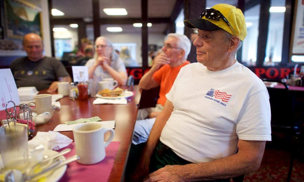 John Picard, 74, a retired carpenter, at the Trolley Stop restaurant in East Bangor.
