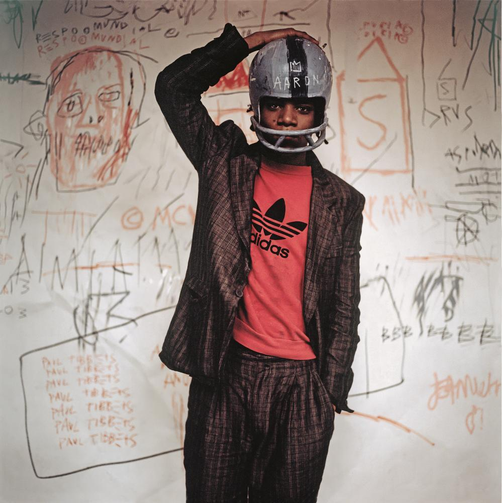 Basquiat's Helmet, NY 1982, from Basquiat Boom For Real at the Barbican Art Gallery
