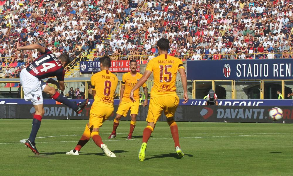 Federico Mattiello fires Bologna ahead as Roma's defenders fail to deal with the danger.