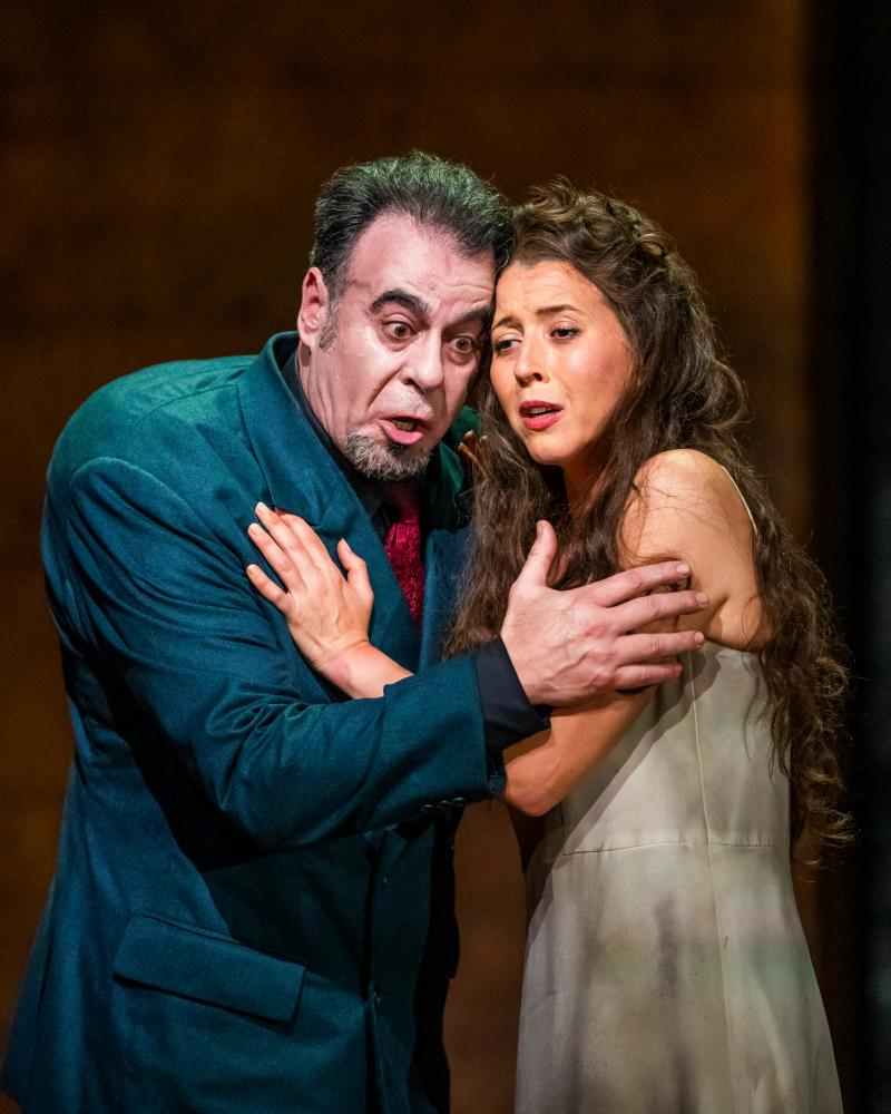 Carlos Álvarez in the title role and Lisette Oropesa as Gilda in Rigoletto.