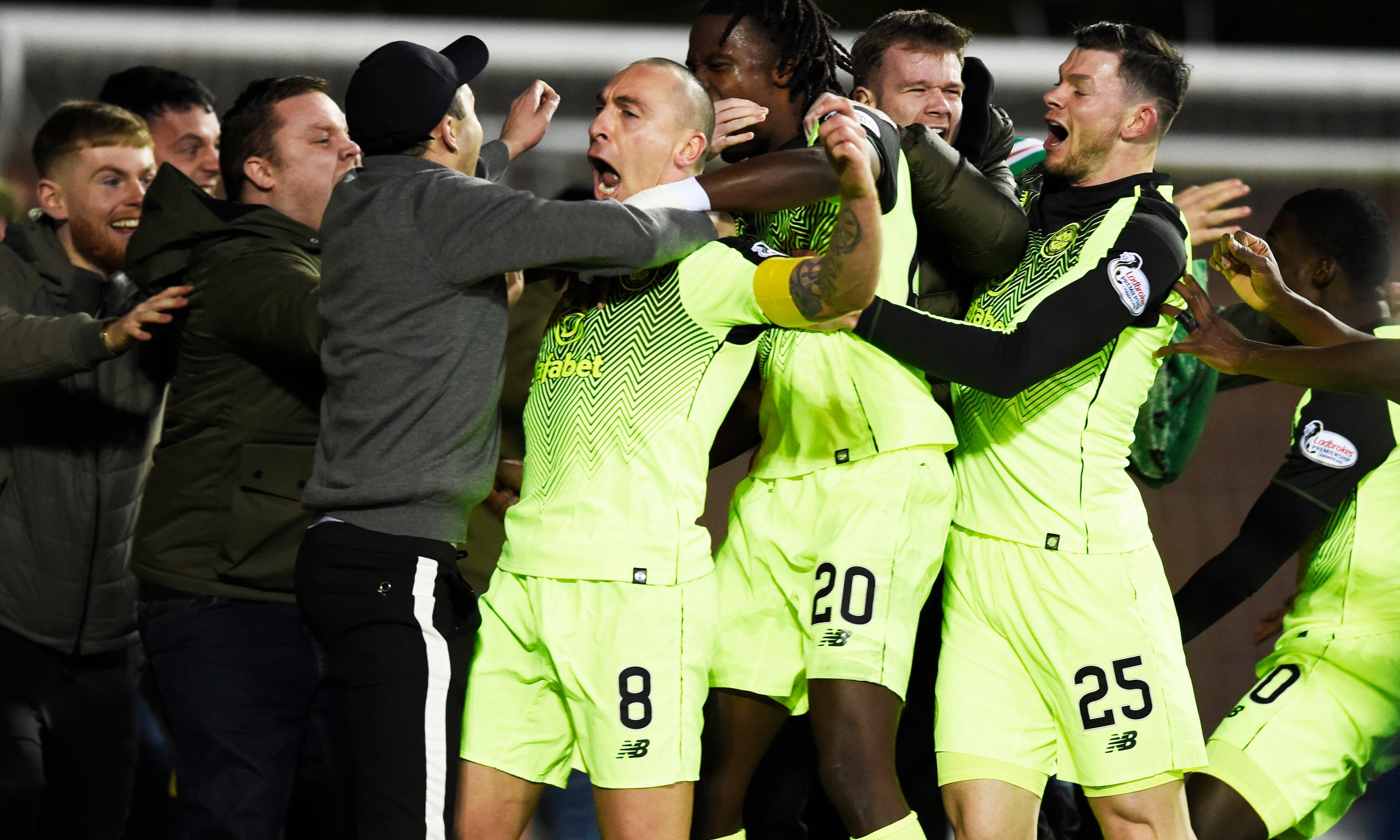 Scott Brown sees red for celebration after scoring late winner for Celtic
