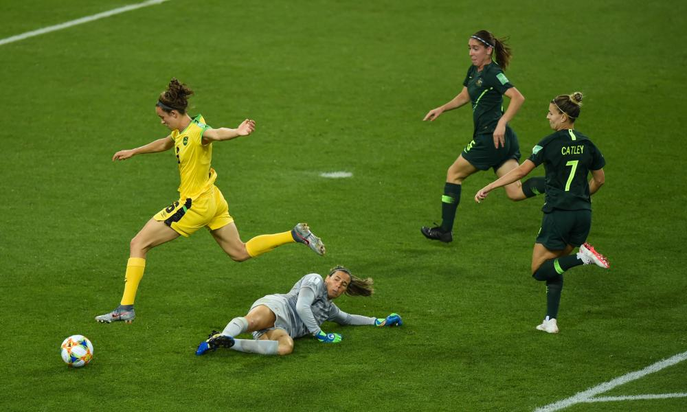 Havana Solaun rounds Australia goalkeeper Lydia Williams before scoring Jamaica's first ever World Cup goal.