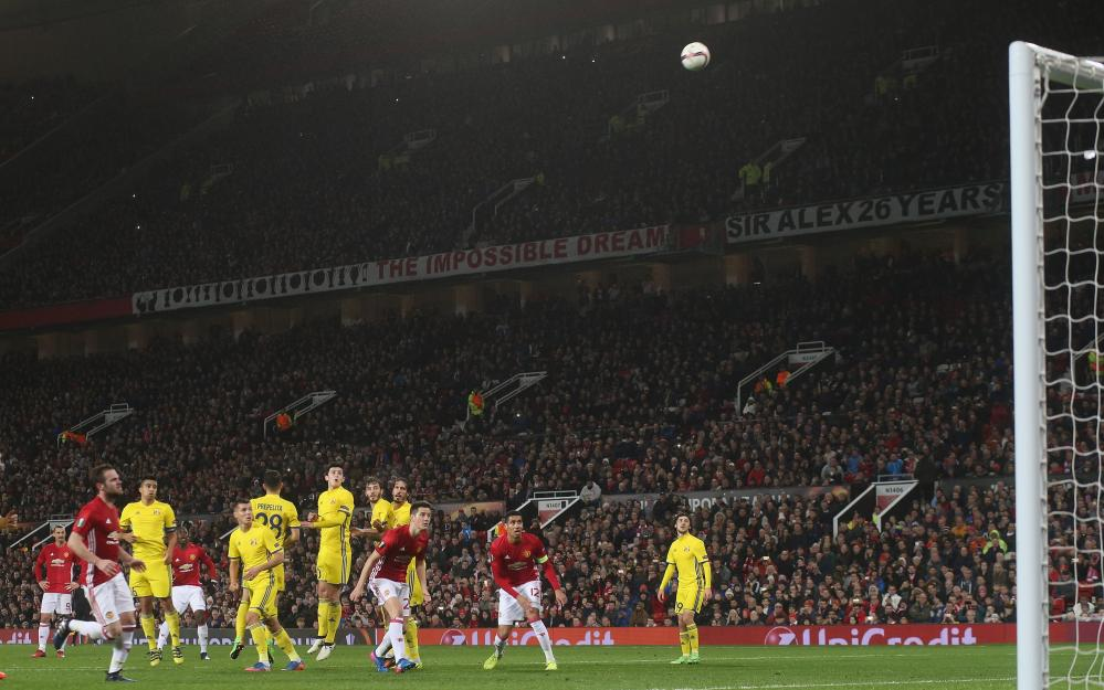 Paul Pogba of Manchester United takes a free kick.