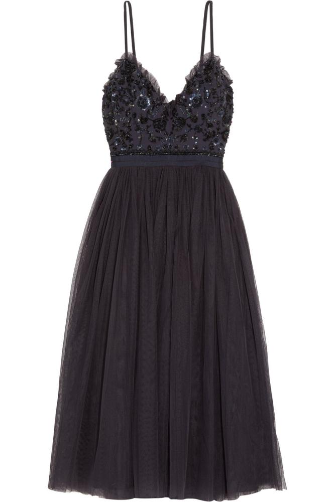 Open-back embellished crepe and tulle midi dress, £145, Needle & Thread