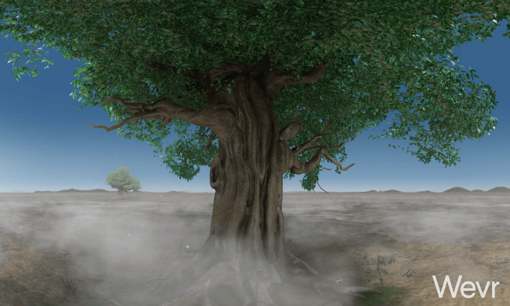 The simulation features the Bodhi tree under which Buddha is said to have sat.