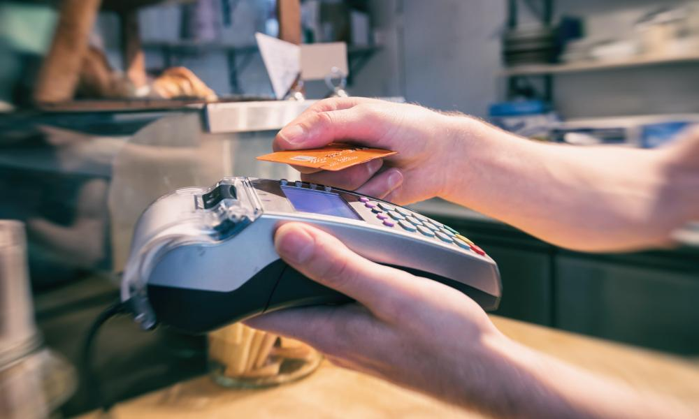 Payment using a contactless credit card terminal.