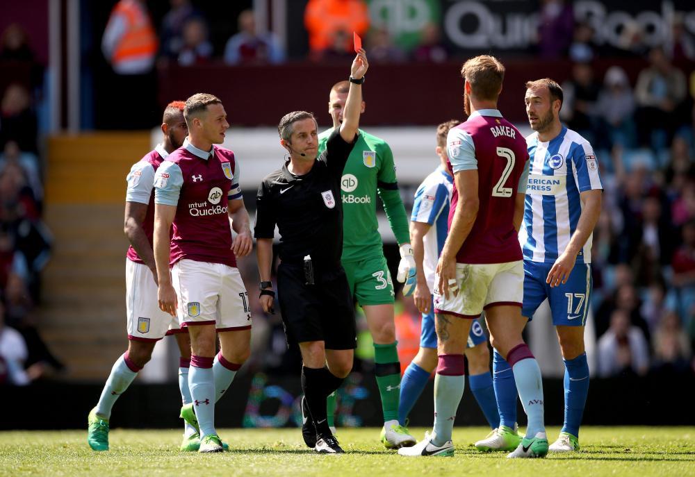 Nathan Baker, sent-off by match referee Darren Bond.