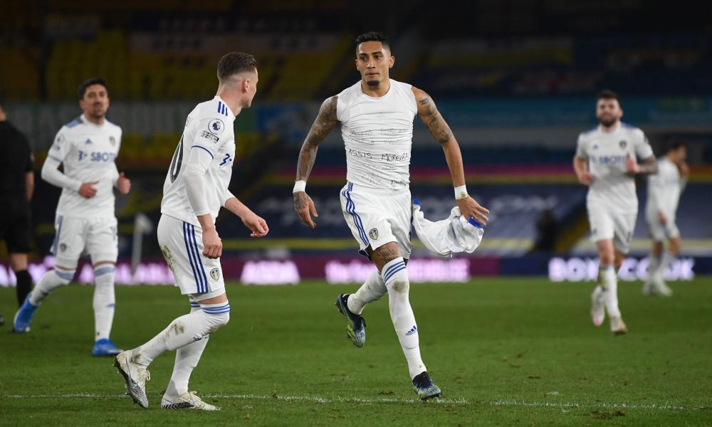 Leeds United's Brazilian midfielder Raphinha celebrates after scoring.