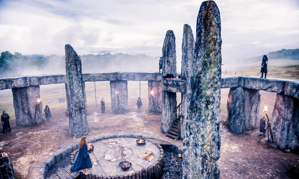 Kelly Riley as Kerra at a Druid ritual site.