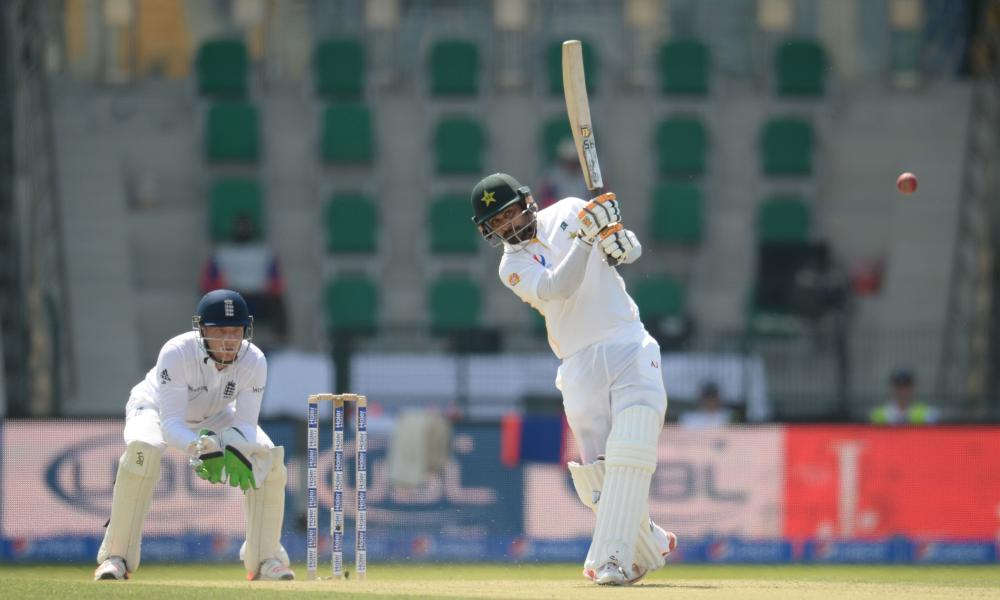 Pakistan's Mohammad Hafeez hits a four off the bowling of Adil Rashid.