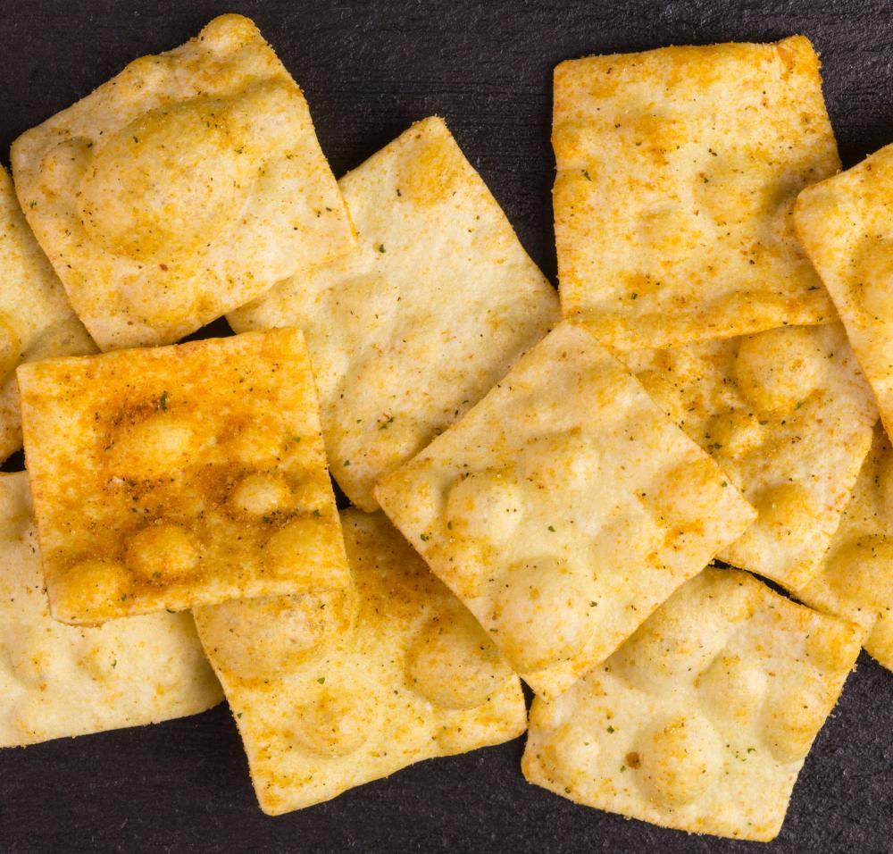 vegan lentil chips on slate background
