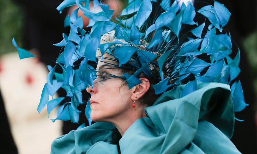 Frances McDormand in a Valentino headdress.