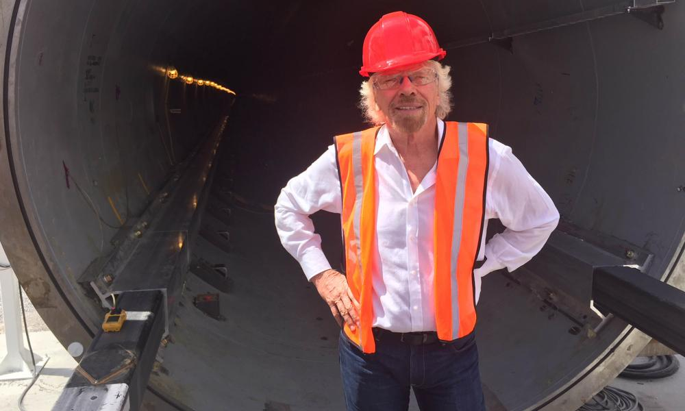 Richard Branson at the Hyperloop test site outside Las Vegas.