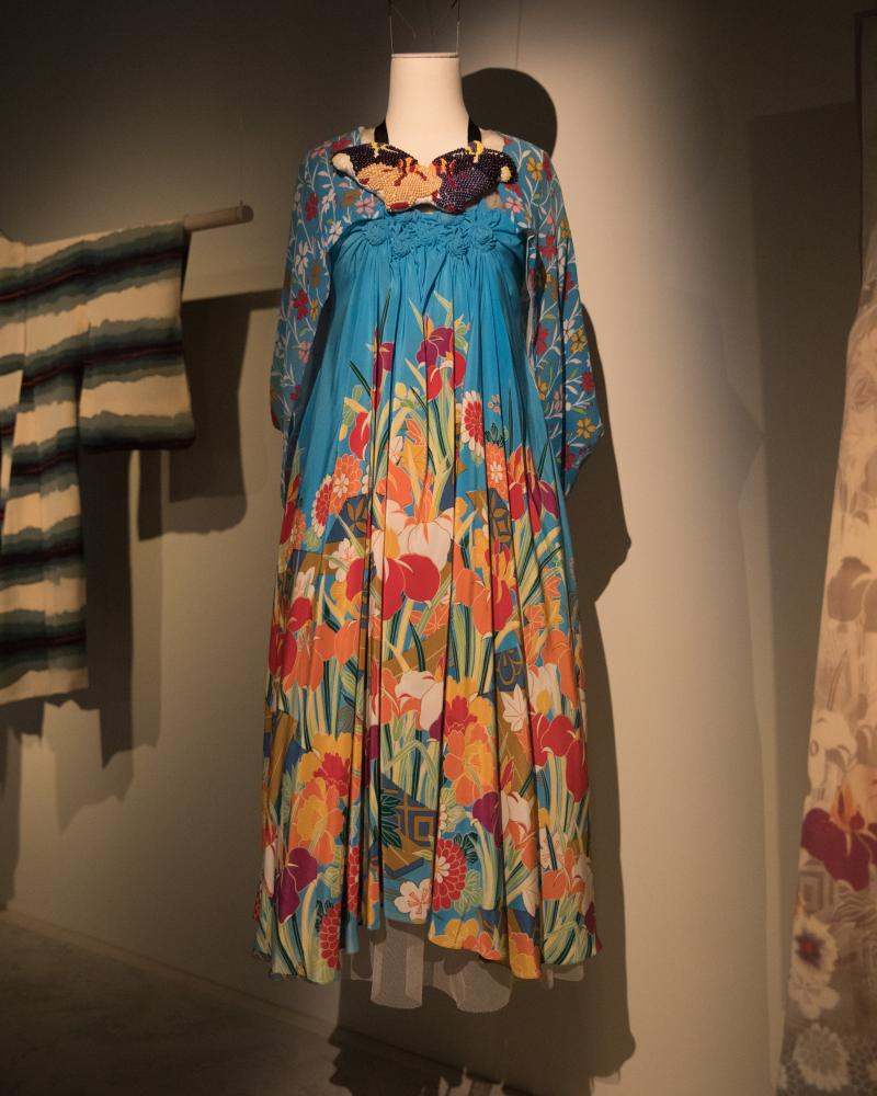 This screenprinted silk dress with shrug, from his 2013 resort collection, was inspired by the vintage kimono above.
