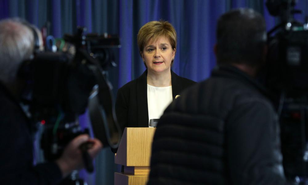 Nicola Sturgeon speaks to the media in Edinburgh