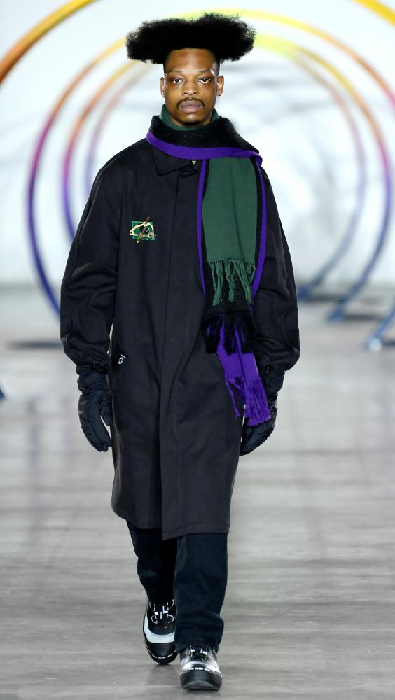 Colour blocked scarves at the Liam Hodges show in London.