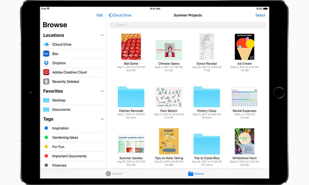 The Files app on an iPad.