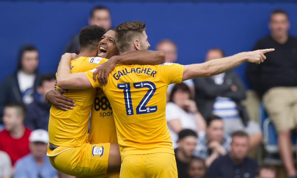 Jermaine Beckford celebrates Preston's second goal at Loftus Road.