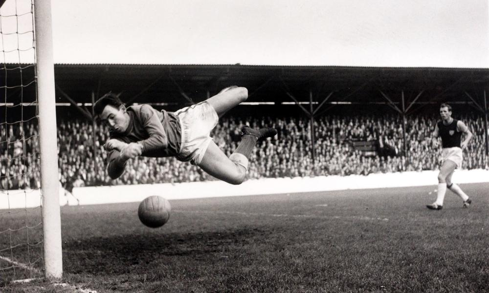 Leicester's goalkeeper Gordon Banks in action. He conceded four goals in the first game Jeremy Alexander reported on for the Guardian, in 1966, but his team won.