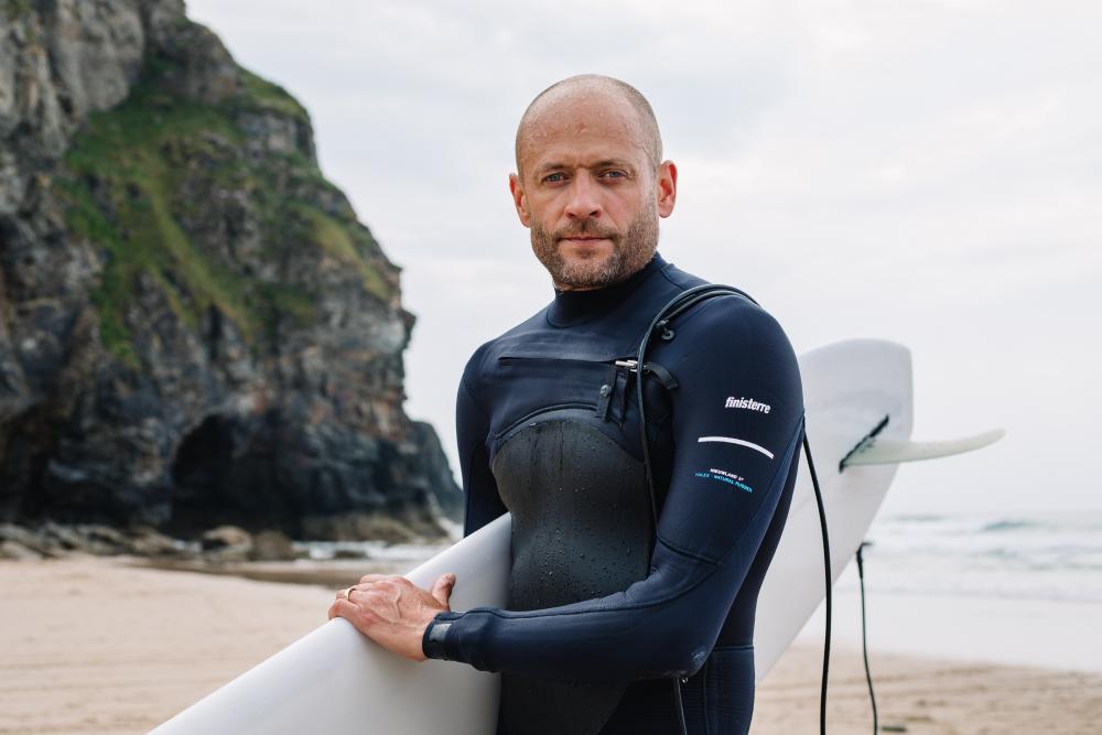Hugo Tagholm after a surf at Porthtowan Beach, St Agnes.