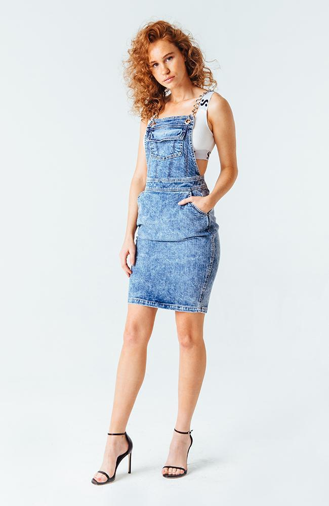 A denim mini dress from Serena's collection.