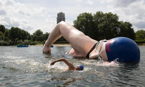 A sculpture of British swimming champion Rebecca Adlington