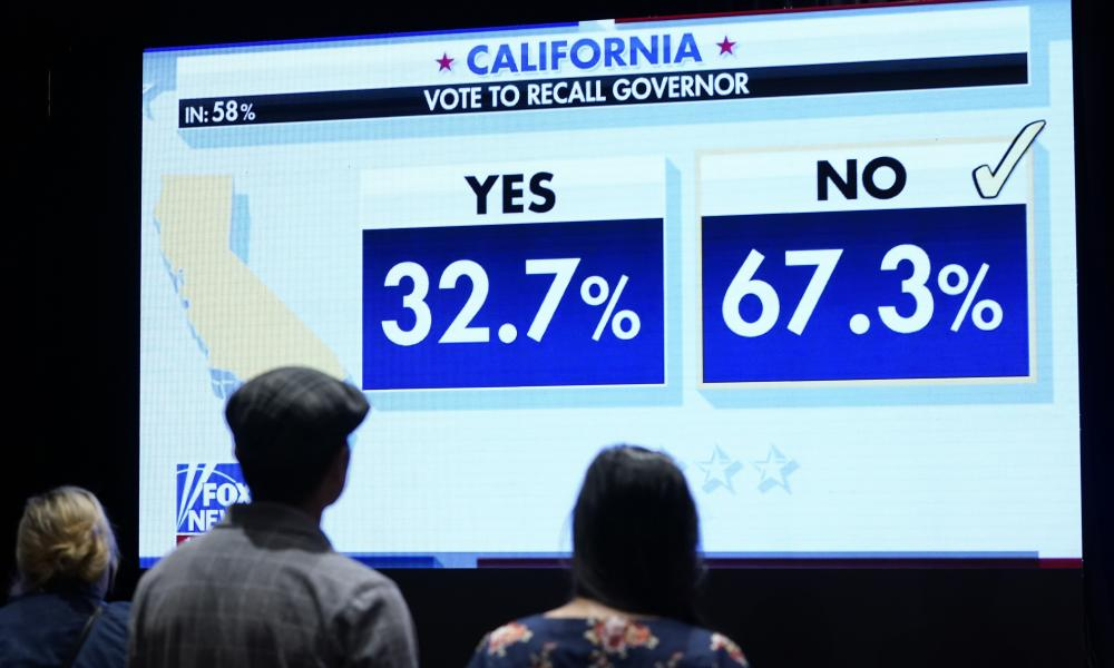 Supporters of conservative radio host Larry Elder watch results for the California recall election come in on Tuesday night.