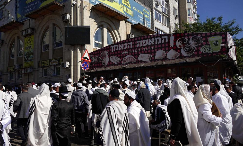 Breslov Hasidic pilgrims processing through the streets in Uman on 7 September.