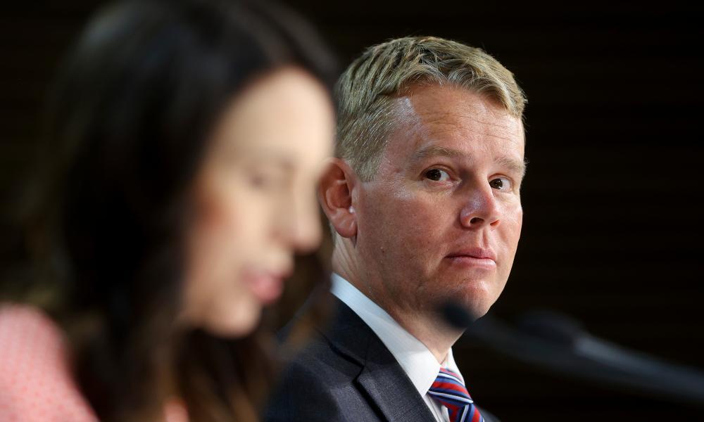 New Zealand prime minister Jacinda Ardern (left) and Covid-19 response minister Chris Hipkins.