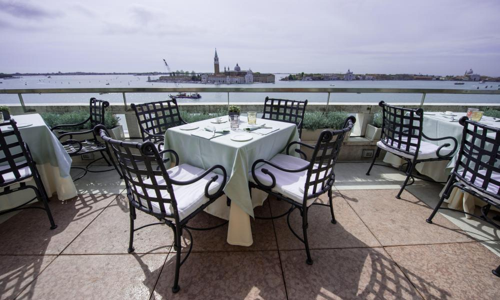 The rooftop terrace restaurant at Hotel Danieli Venice.