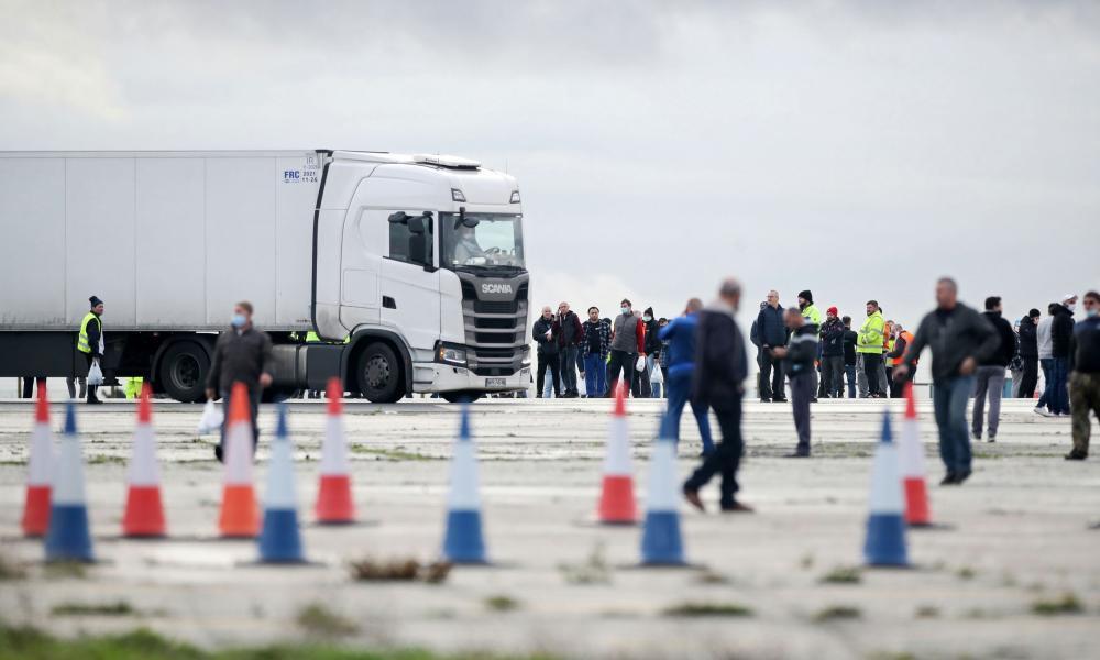 Lorry drivers gather at Manston International Airport