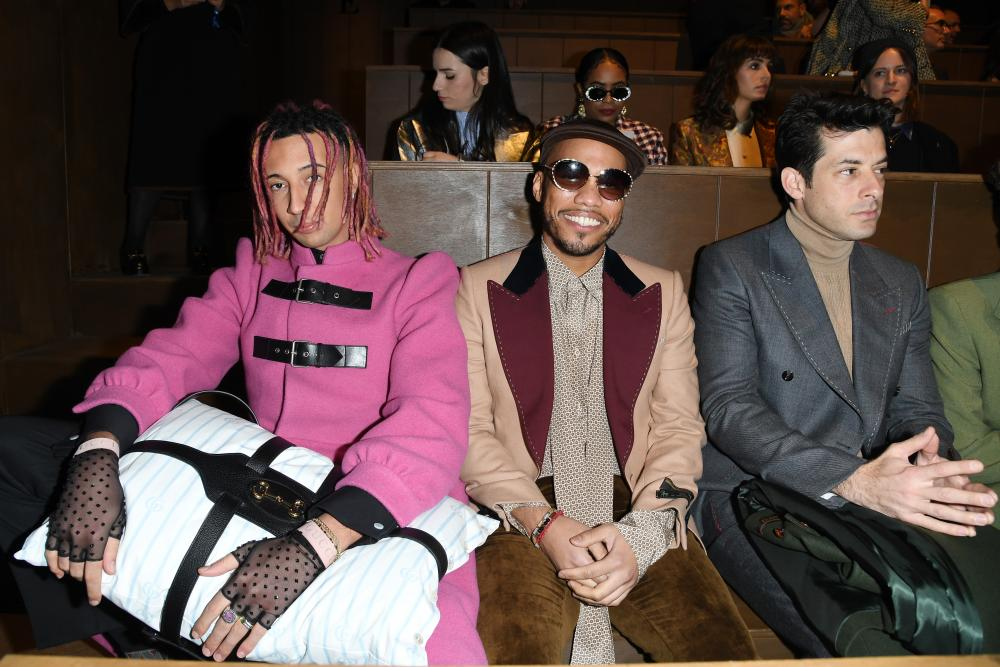 Gucci front row, from left: Ghali, Anderson Paak and Mark Ronson.