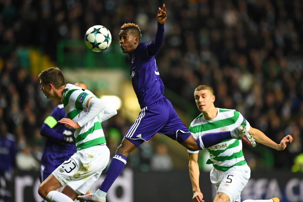 Anderlecht's Henry Onyekuru heads towards goal.