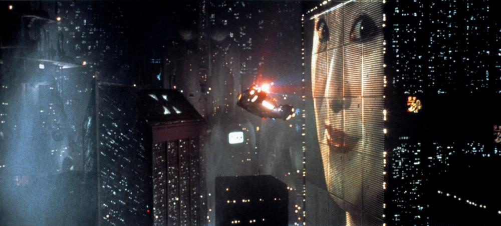 Blade Runner's futuristic city scene.