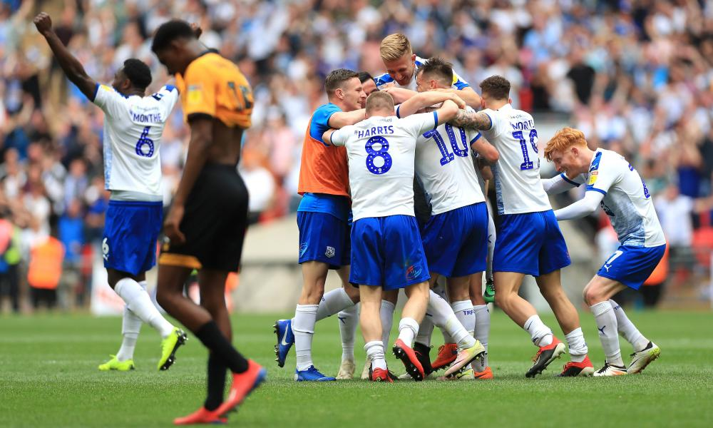 Tranmere Rovers players celebrate victory