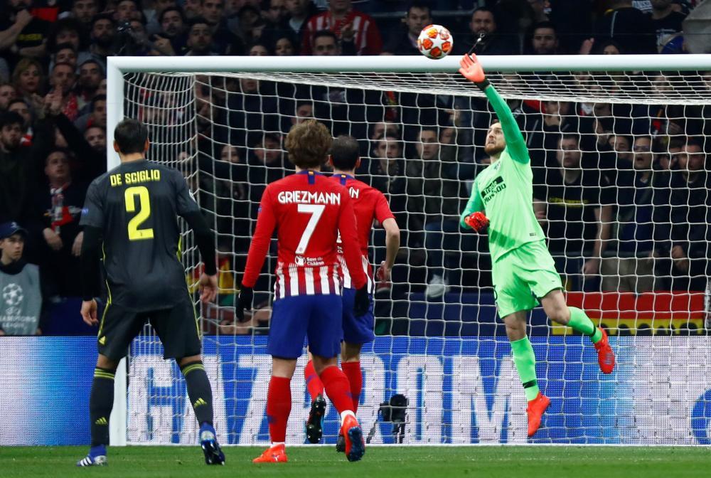 Atletico Madrid's Jan Oblak makes a save.
