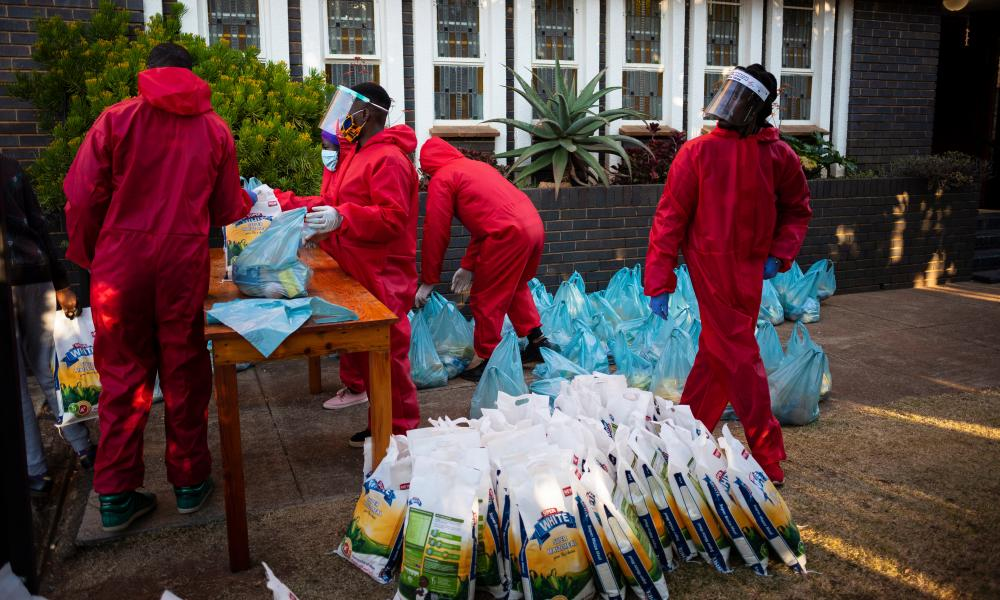 Volunteers prepare to feed local people during the weekly feeding scheme at the Heritage Baptist Church in Melville on the 118 day of lockdown in Johannesburg, South Africa.