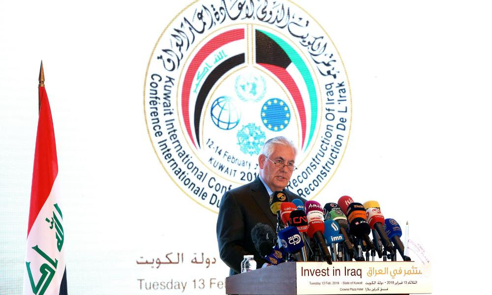 Rex Tillerson, the US secretary of state, at the Kuwait International Conference for Reconstruction of Iraq on Tuesday.